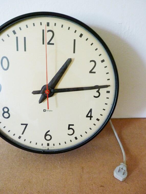 vintage school clock by simplex by evanspicks on etsy