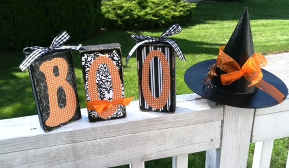 Rustic BOO Wooden Block Letters