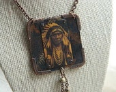 Edward S. Curtis Chief Joseph Native American pendant mixed medium with fabric metal stone jewelry