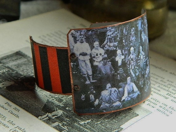 Victorian Circus bold cuff bracelet Dark Circus clowns mixed media jewelry Clowns