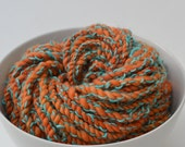 The Mill orange and turquoise handspun super bulky art yarn - 30 Yards