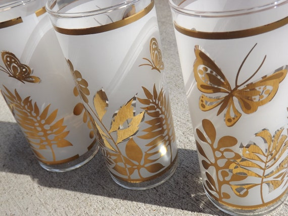 Vintage Trio of  Tumblers,  Botanicals and Butterflies,  Gold, Frosted White and Clear.