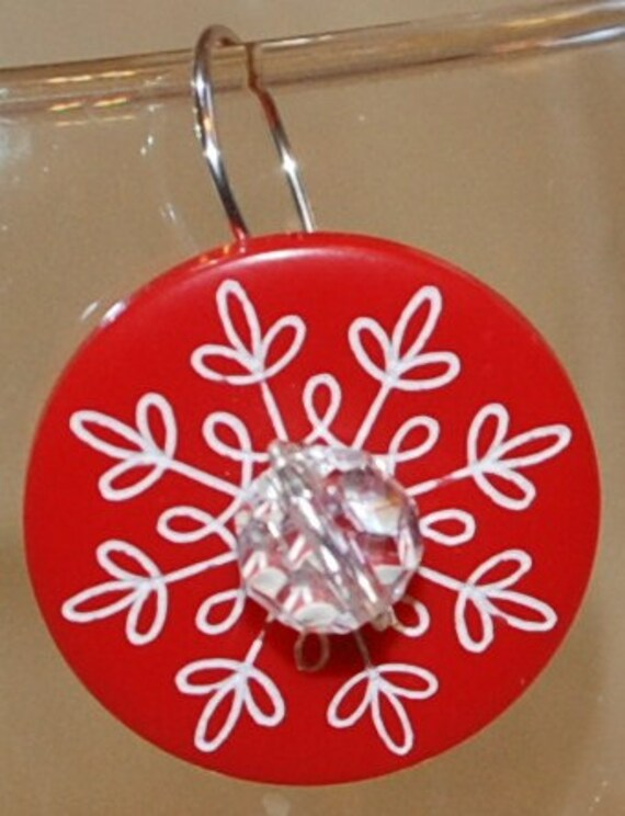 Red Snowflake Button Earrings