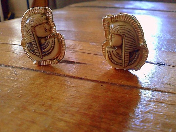 Antique Egyptian Hand-carved Ivory and Silver Earrings