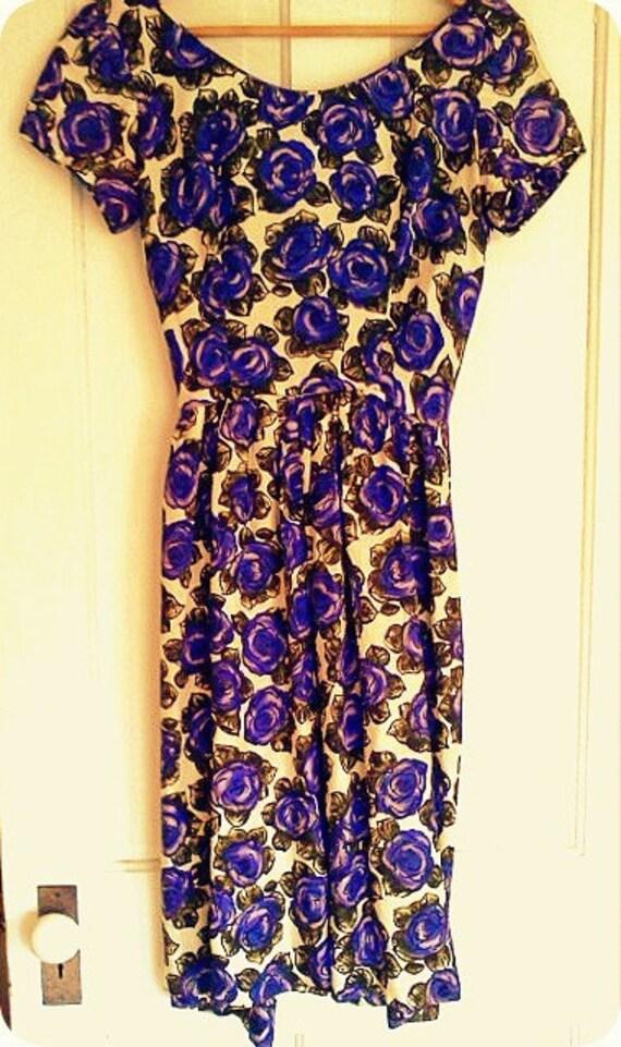 1960s Purple Floral Dress