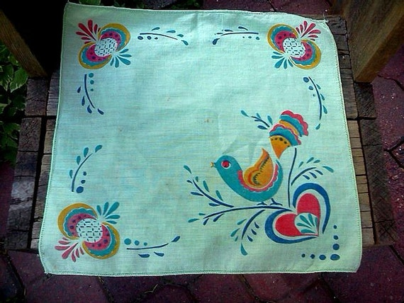 Vintage Bird design Handkerchief