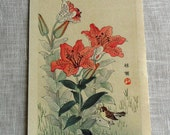 "Vintage Japanese Woodblock Print ""Tiger Lily and Sparrow"" c. 1920's"
