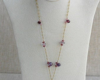 Delicate and Dramatic Gemstone Necklace with Amethyst, Rubellite & Pink Topaz