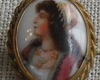 Miniature Portrait Painted on Porcelain Cabochon c. Late 1800's