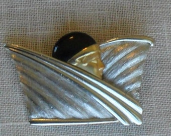 "Vintage Large Stylized  ""Roaring 20's"" Brooch c.1980's"