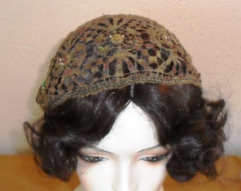 Vintage Art Deco French Juliette Cap with Metallic Lace and Paste Gemstones c. 1920's