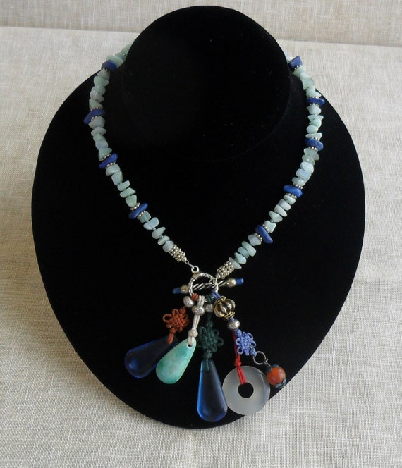 Ancient Mandarin Palace Beads with Sterling Silver, Lapis Lazuli and Amazonite Necklace