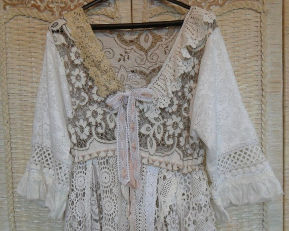RESERVE for Cleano - Vintage Cotton Lace Bohemian Magnolia Pearl Style Tunic