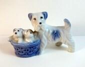 Vintage Terrier and Puppies in Basket Occupied Japan