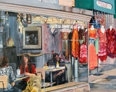 Original Oil Painting, Large Colorful Photorealism Cafe Street Scene with Mannequins, 30 x 40""