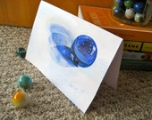 Blue Marble Greeting Card, Mid Century Americana, Original Painting - Blank - 5 x 7 in. by Heather McCaw