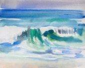 "Watercolor Ocean Beach Art, ""Waves,"" Original Painting on Watercolor Paper, 8 x 8 in. by Heather McCaw"