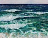 Waves Beach Art, Plein Air Seascape Painting, Original Oil on Panel, 12 x 16 in. by Heather McCaw