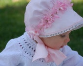 Silky Pink Spring Bonnet w/Removable Snood