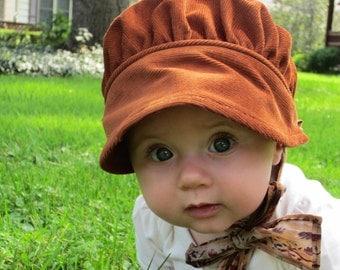 Corduroy baby bonnet