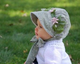 Romantic Baby Bonnet w/Removable Snood