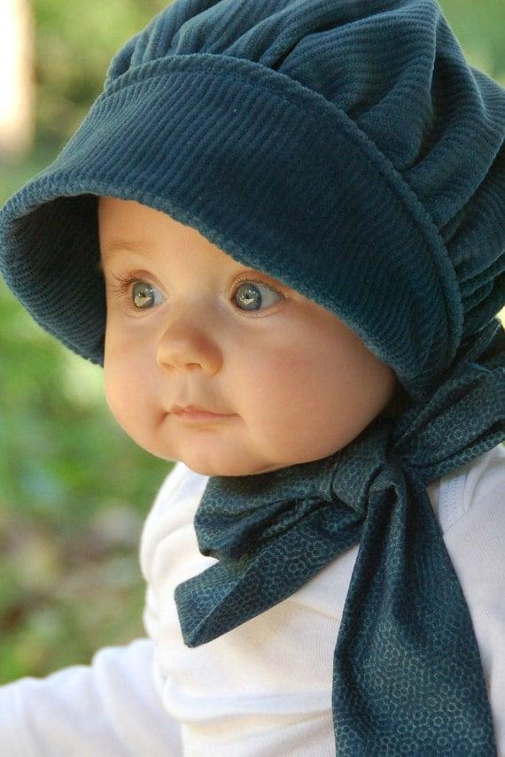 Blue Corduroy Baby Bonnet