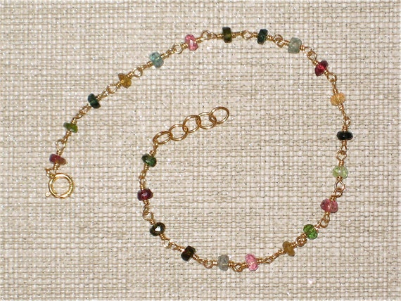 Wire wrapped Tourmaline bracelet, Multicolored tourmaline rondelles, October birthstone,  14kt gold filled