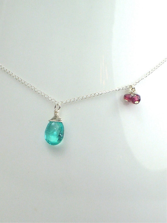 Delicate Apatite & garnet asymmetric necklace, sterling silver chain, gemstones, Bridesmaids necklace, other colors available