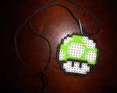 Green Mushroom Perler Bead Necklace