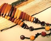 Vintage belt - wood belt - casual belt - multicolor wood