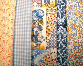 Group of cotton print fabrics, color coordinated, washable, 5 fabrics - #20