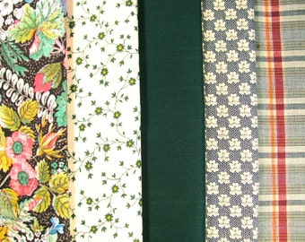 Group of cotton fabrics, coordinated colors, 5 fabrics -  #23