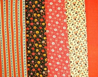 Group of cotton fabrics, coordinated fabrics, 5 fabrics -  #26