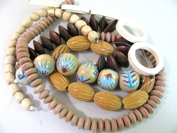 Destash-Assorted wooden beads Group P -- RESERVED for Jose Anne