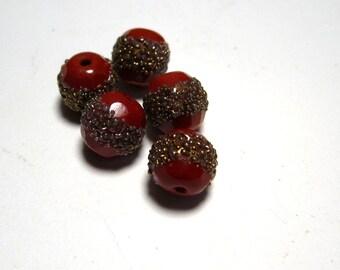 Vintage Glass Beads Metallic Granulation  B201136