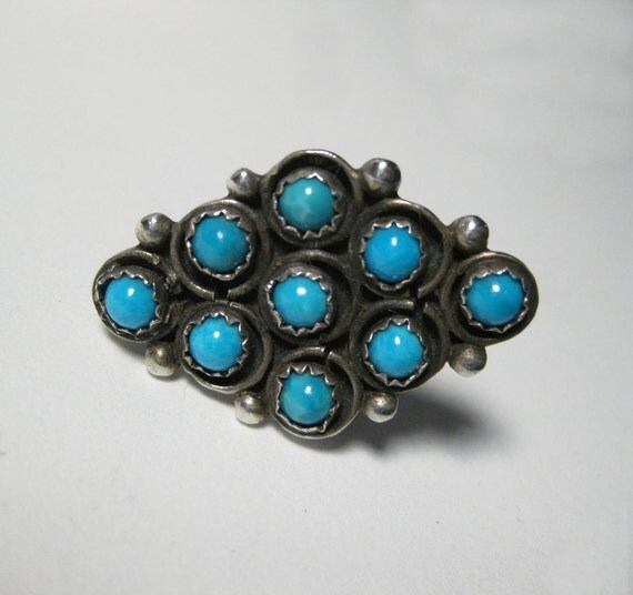 Vintage Southwest Turquoise and Sterling Ring V201216