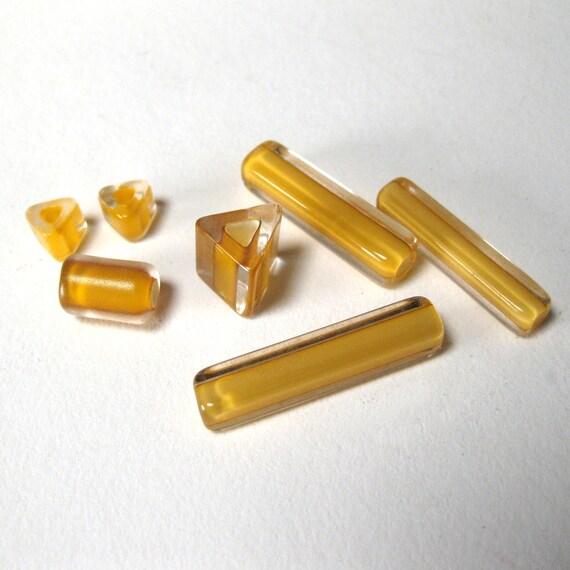 Sunflower Yellow Cane Glass Beads B201293