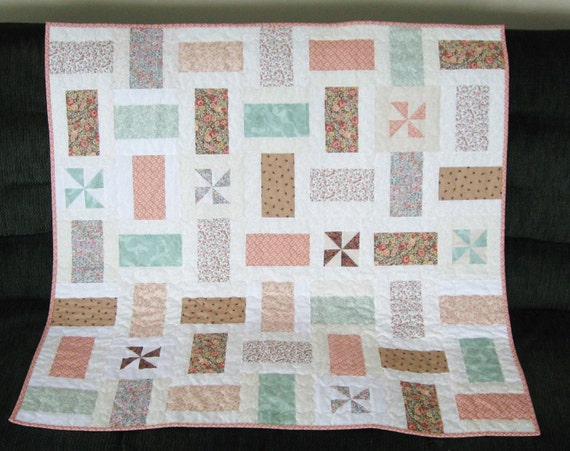 Baby Girl Quilt, Lap or Throw, Peach, Green and Taupe Pastels