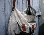 Bag made from vintage US Mail sack and Ethiopian leather parts