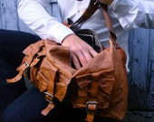 SALE //// Leather Messanger Bag / Roomy / 3 Cargo Pockets / Eco Leather / Made to order