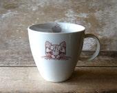 Tabby Cat Mug with Yarn and Fish, 16 oz Porcelain Mug, Dishwasher Safe, Ready to Ship