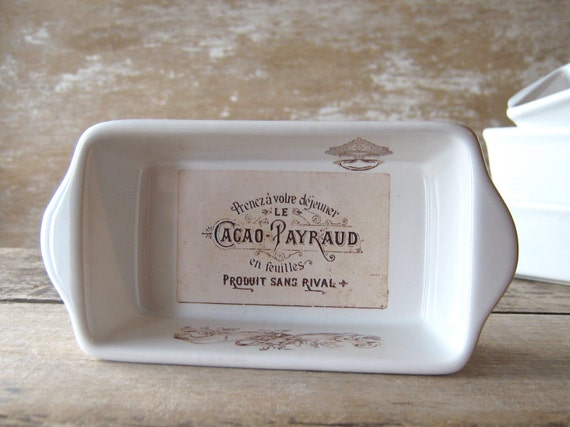 Toy Sized Loaf Pan, French Chocolates Label Dish, Small Rectangular Pottery, Ready to Ship