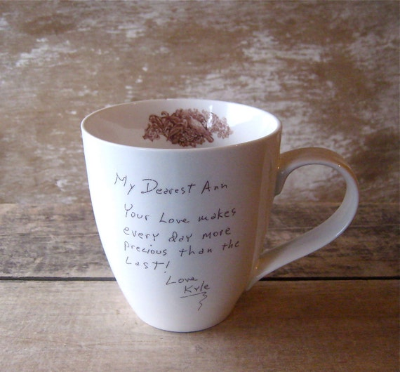 Personalized Love Note Coffee Mug  MADE TO ORDER You write it