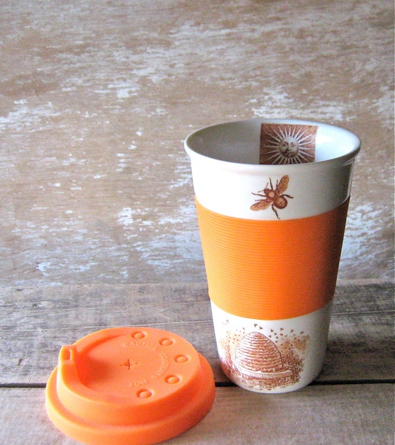 Ceramic Travel Mug Bees Skeps Beehives Honey