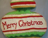Christmas ornament hand painted burlap door/wall hanging in Christmas red, green, cream and gold