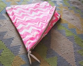 Large hot pink hand-printed leather zig-zag clutch