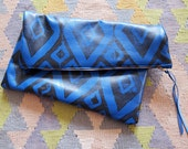 Large electric blue hand-printed leather diamonds clutch