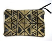Medium black and gold hand-printed leather triangles clutch