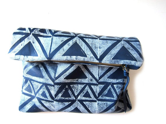 Large navy and white hand-printed leather triangles clutch