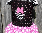 Custom Boutique Minnie Mouse Birthday Outfit Shirred Ruffle Knot Top Girls ClothingOTT Hairbow Black Pink Zebra 6m 12m 18m 24m 2T 3T 4T 5 6
